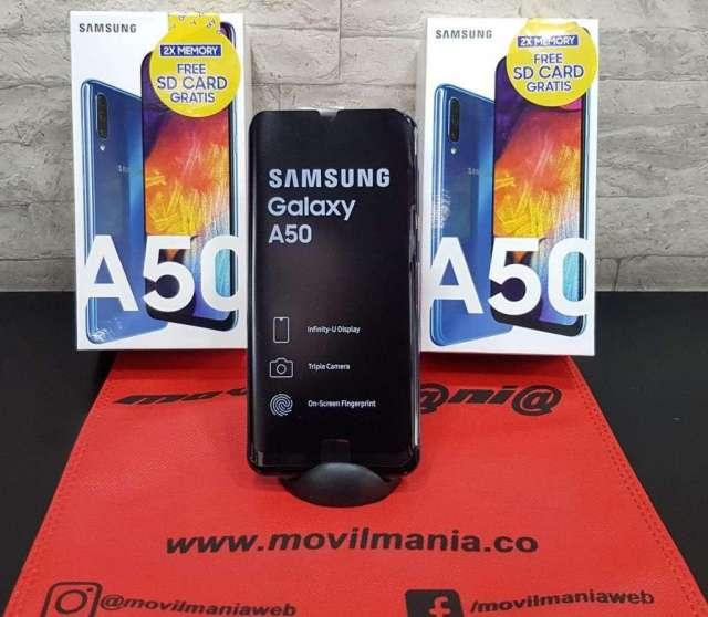 Samsung A50 64Gb nuevos con garantia microSD 64gb domicilios sin costo en Bogotá Movil Mania